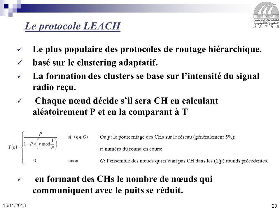 Le protocole LEACH Le plus populaire des protocoles de routage hiérarchique. basé sur le clustering adaptatif.