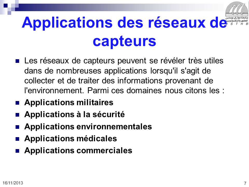 Applications des réseaux de capteurs