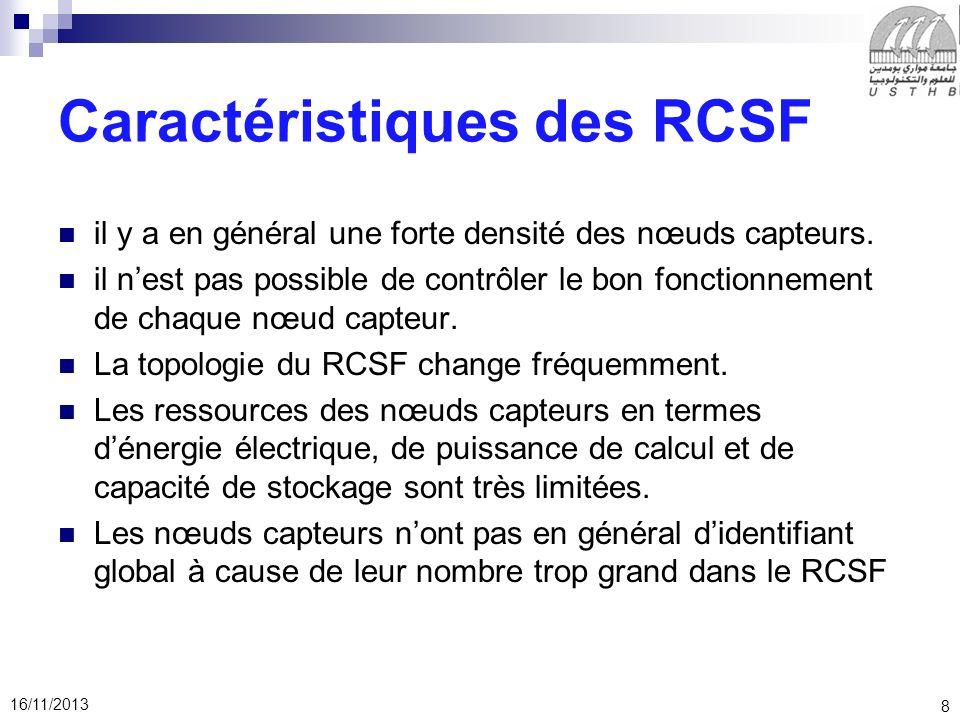 Caractéristiques des RCSF