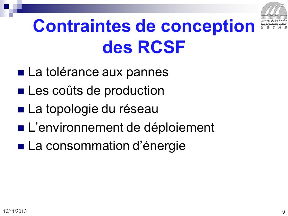 Contraintes de conception des RCSF