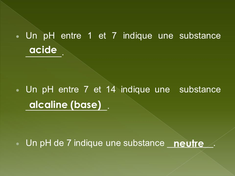 acide alcaline (base) neutre