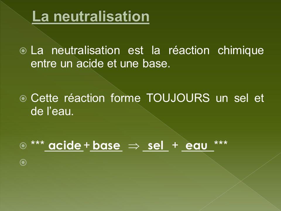 La neutralisation La neutralisation est la réaction chimique entre un acide et une base. Cette réaction forme TOUJOURS un sel et de l'eau.