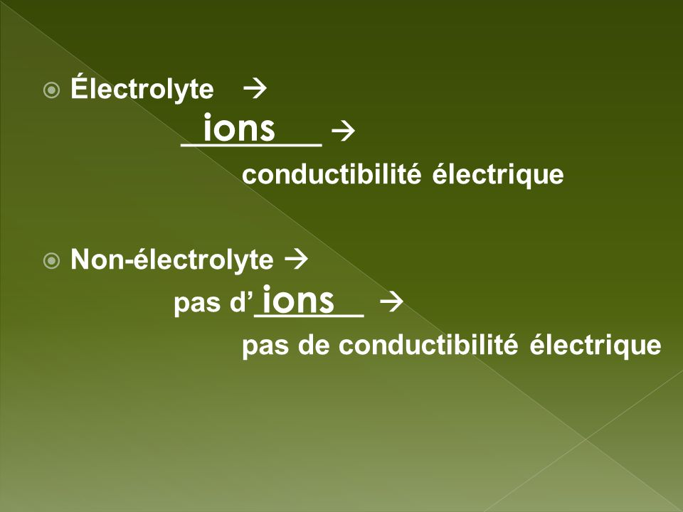 ions ions Électrolyte  _________  conductibilité électrique