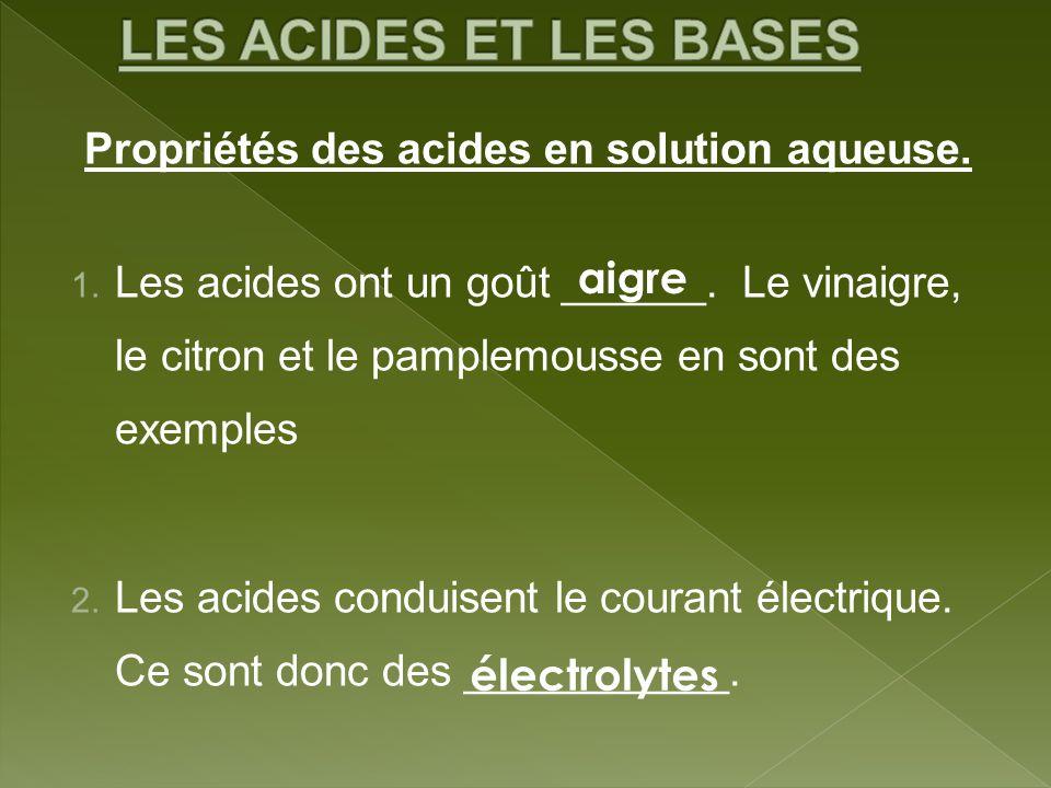 LES ACIDES ET LES BASES Propriétés des acides en solution aqueuse.