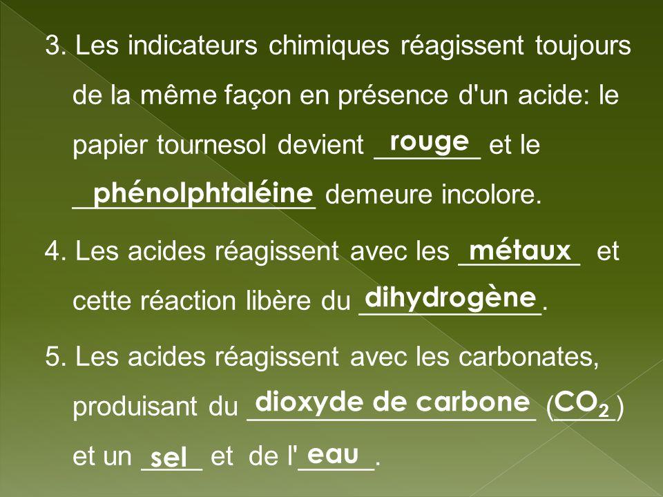 3. Les indicateurs chimiques réagissent toujours de la même façon en présence d un acide: le papier tournesol devient _______ et le ________________ demeure incolore.