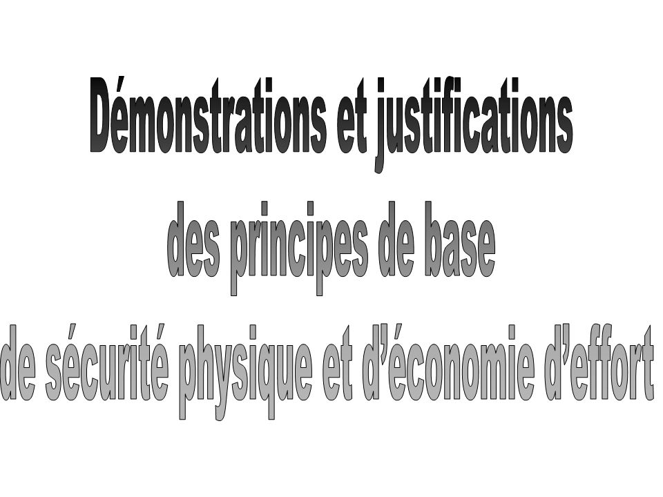 Démonstrations et justifications des principes de base