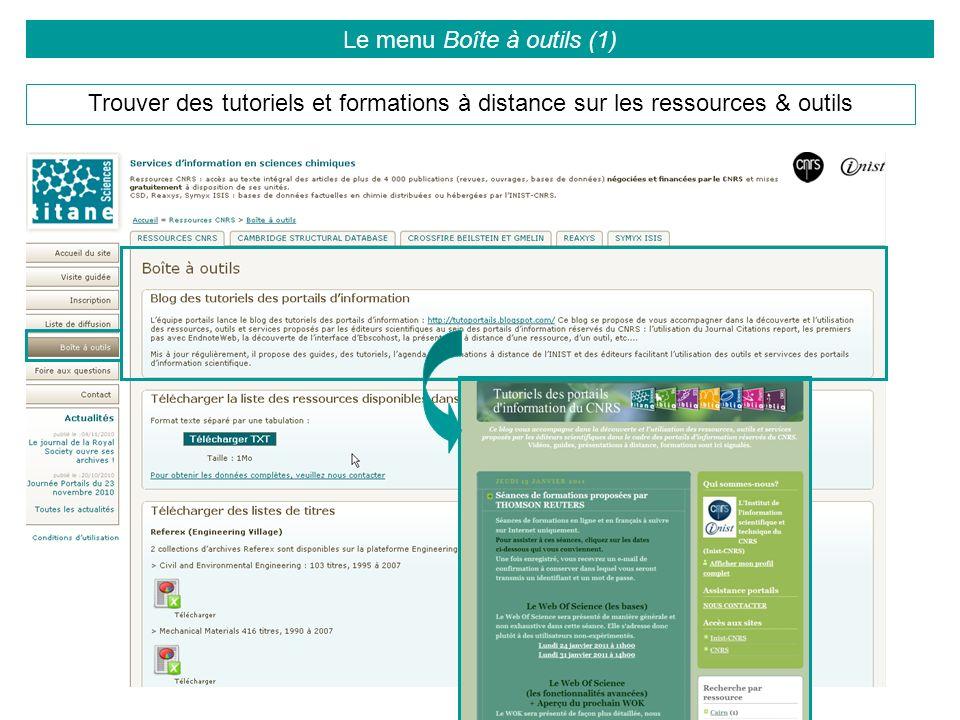 Le menu Boîte à outils (1)
