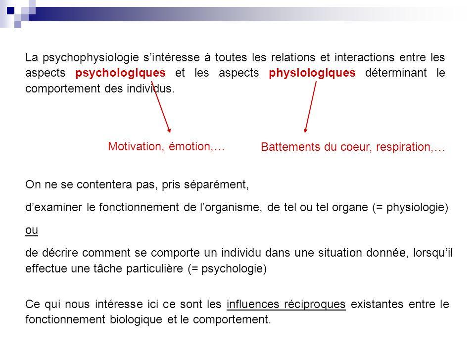 La psychophysiologie s'intéresse à toutes les relations et interactions entre les aspects psychologiques et les aspects physiologiques déterminant le comportement des individus.