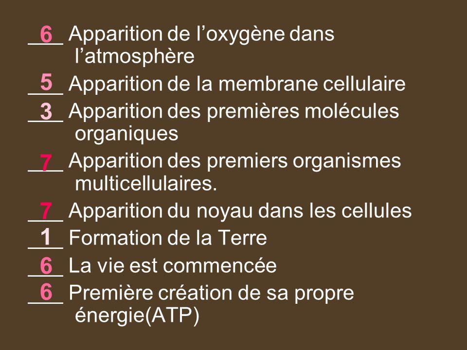 6 5 3 7 7 1 6 6 ___ Apparition de l'oxygène dans l'atmosphère