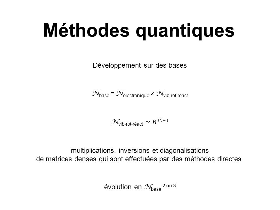 Méthodes quantiques Développement sur des bases
