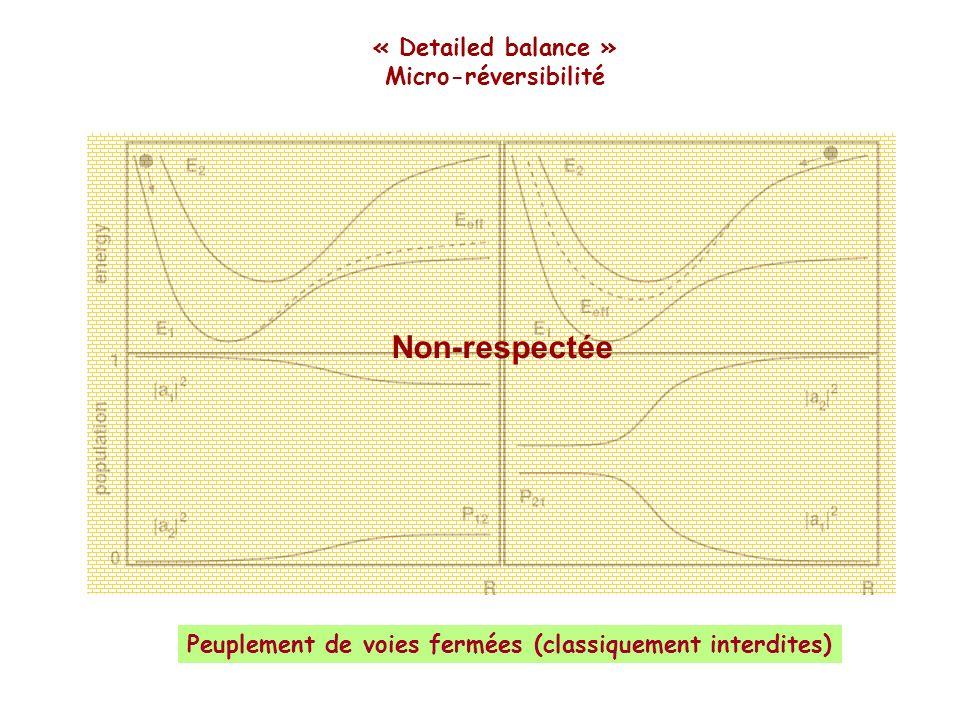 Non-respectée « Detailed balance » Micro-réversibilité