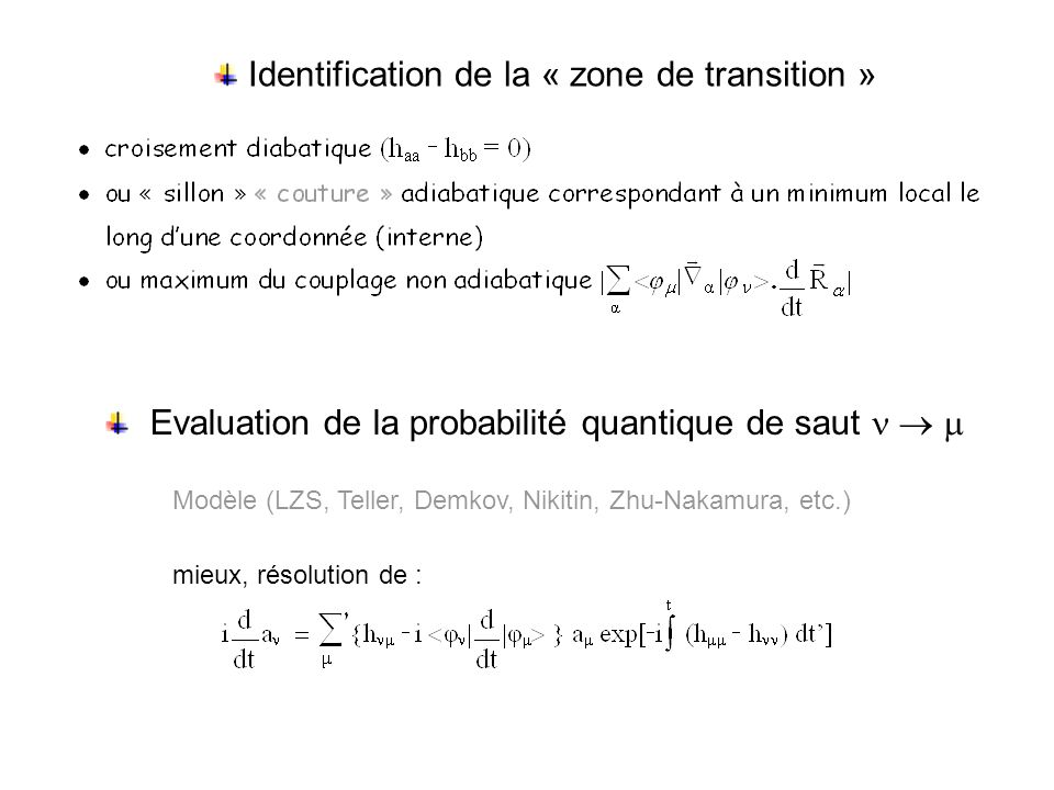 Identification de la « zone de transition »