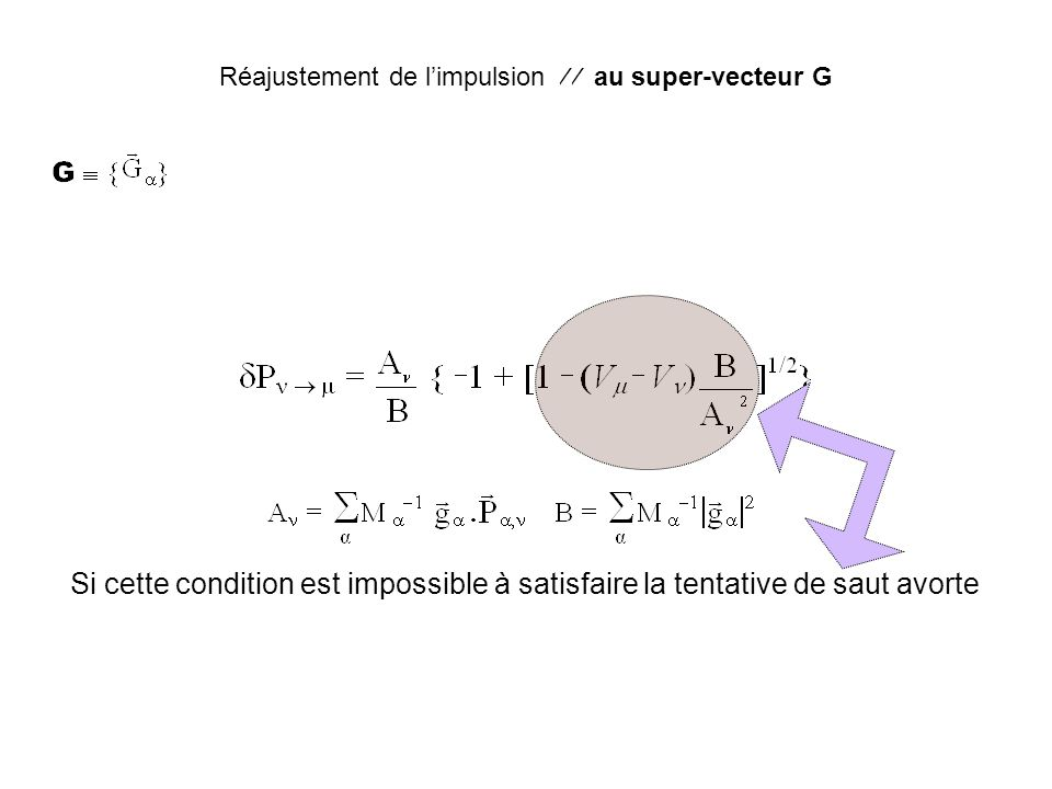 Réajustement de l'impulsion   au super-vecteur G