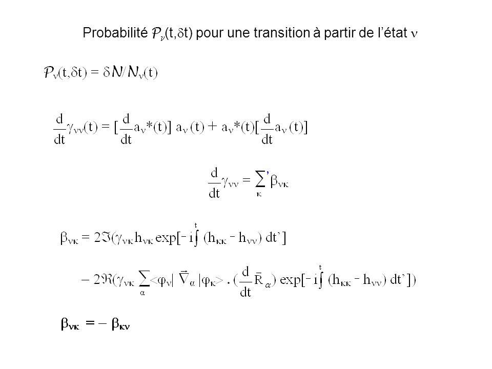 Probabilité Pn(t,dt) pour une transition à partir de l'état n