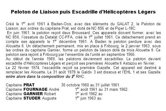 Peloton de Liaison puis Escadrille d Hélicoptères Légers