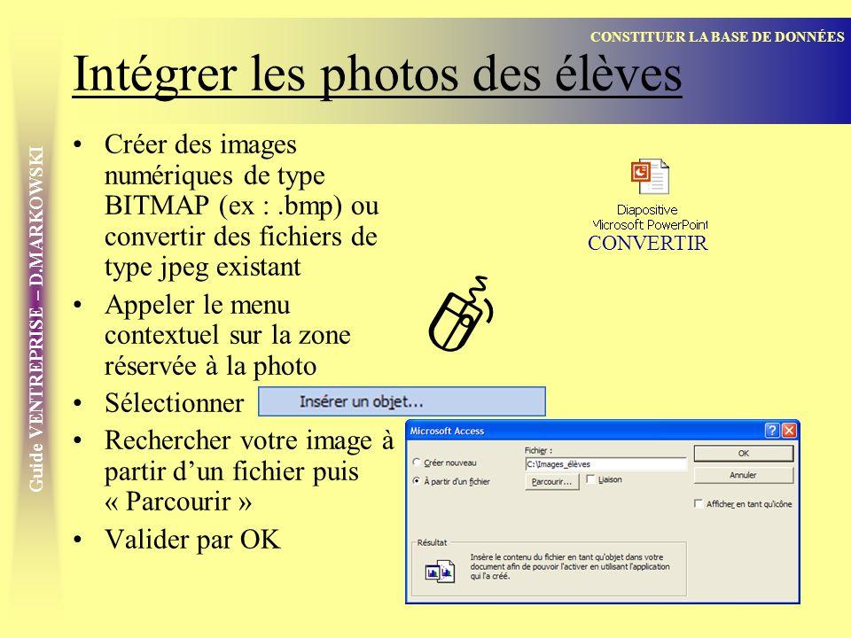 Intégrer les photos des élèves