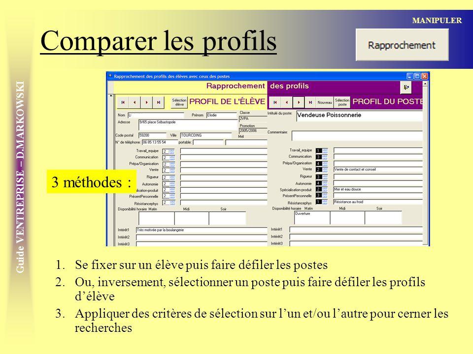 Comparer les profils 3 méthodes :