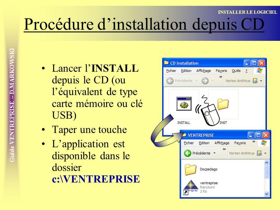 Procédure d'installation depuis CD