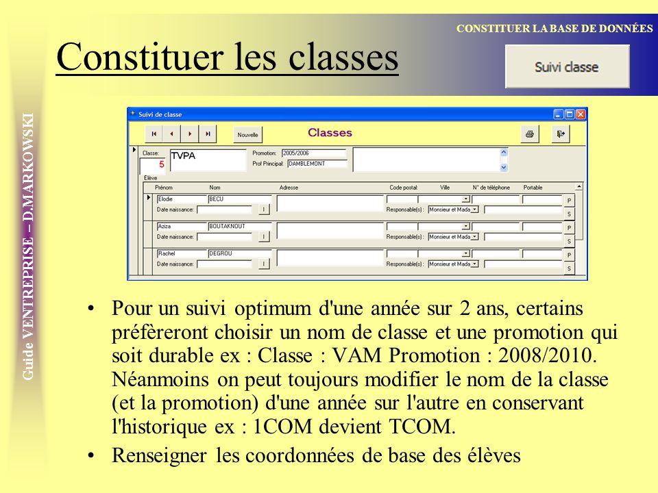 Constituer les classes