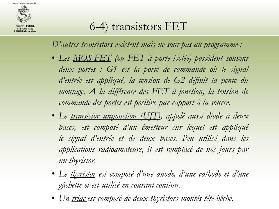 6-4) transistors FET D'autres transistors existent mais ne sont pas au programme :