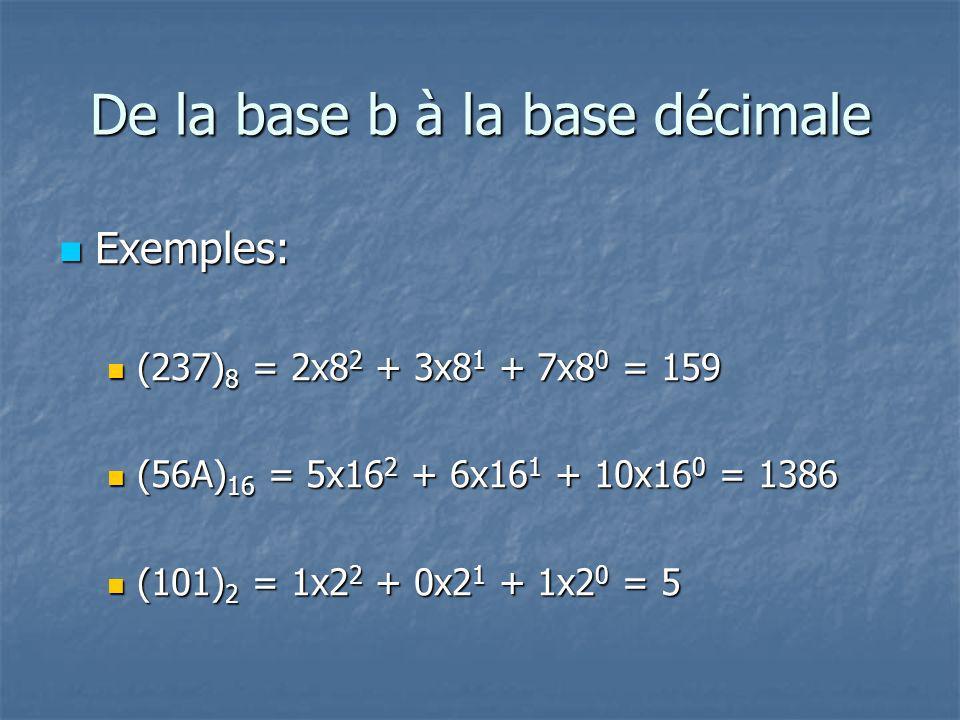 De la base b à la base décimale