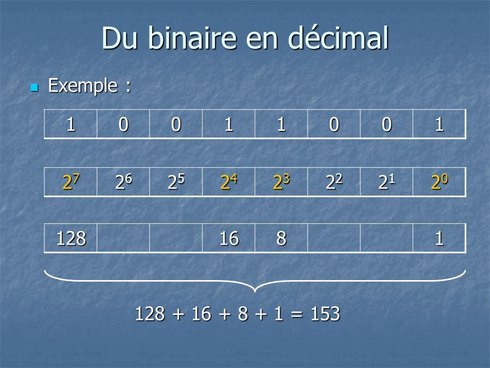 Du binaire en décimal Exemple : 1 27 26 25 24 23 22 21 20 128 16 8 1