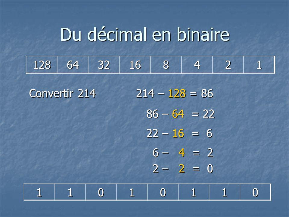 Du décimal en binaire 128 64 32 16 8 4 2 1 Convertir 214