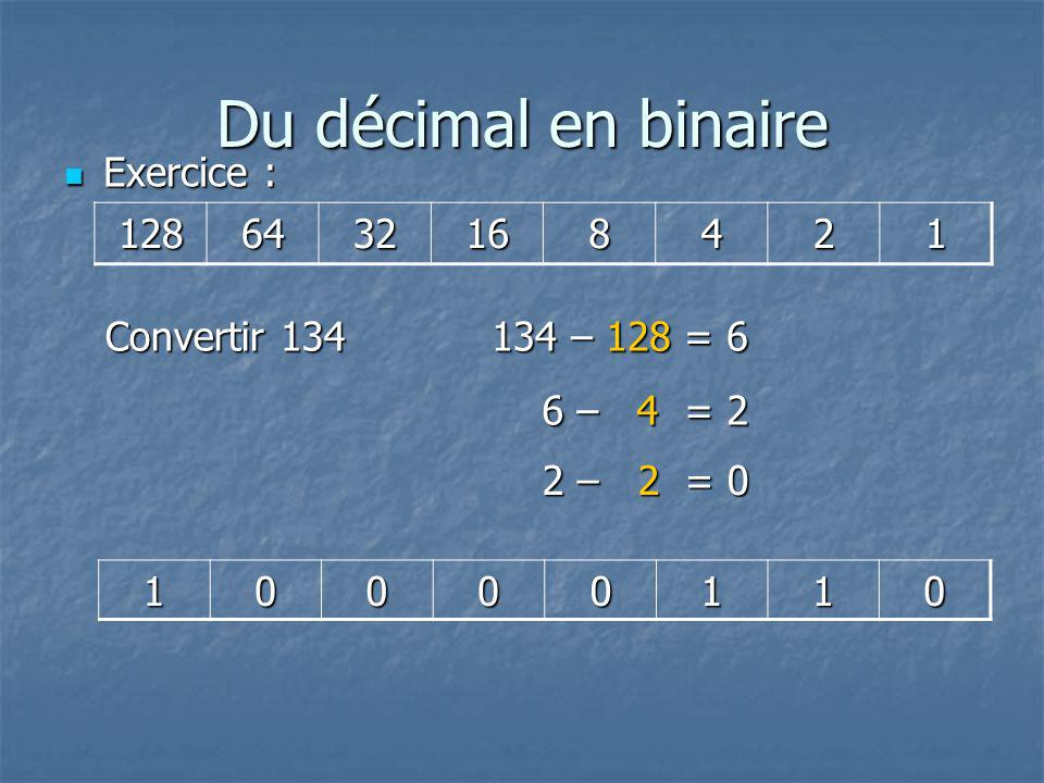 Du décimal en binaire Exercice : 128 64 32 16 8 4 2 1 Convertir 134