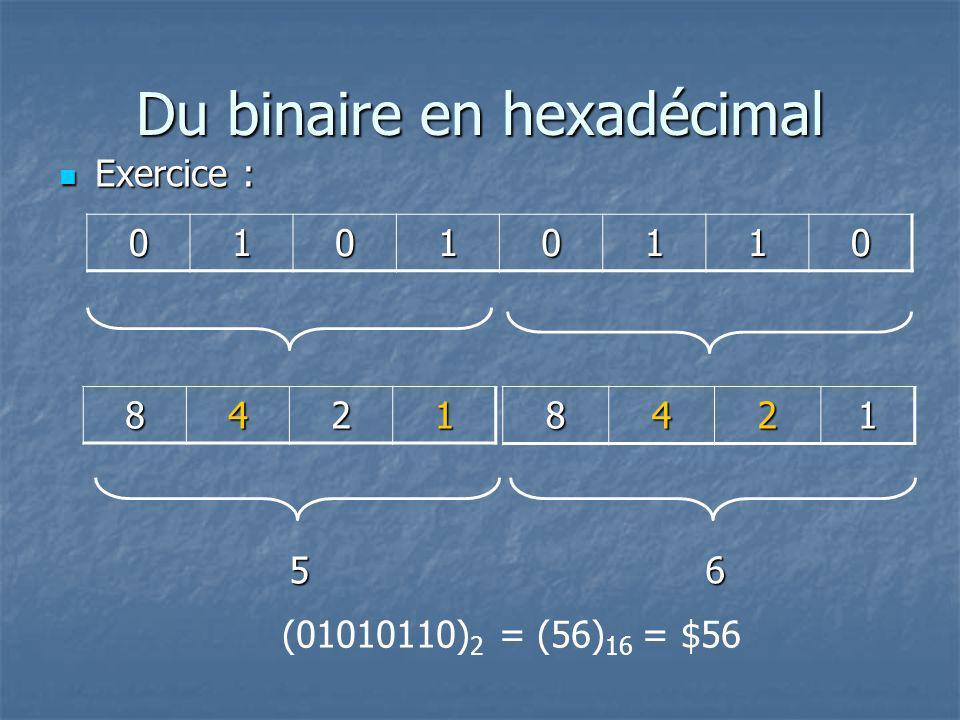 Du binaire en hexadécimal