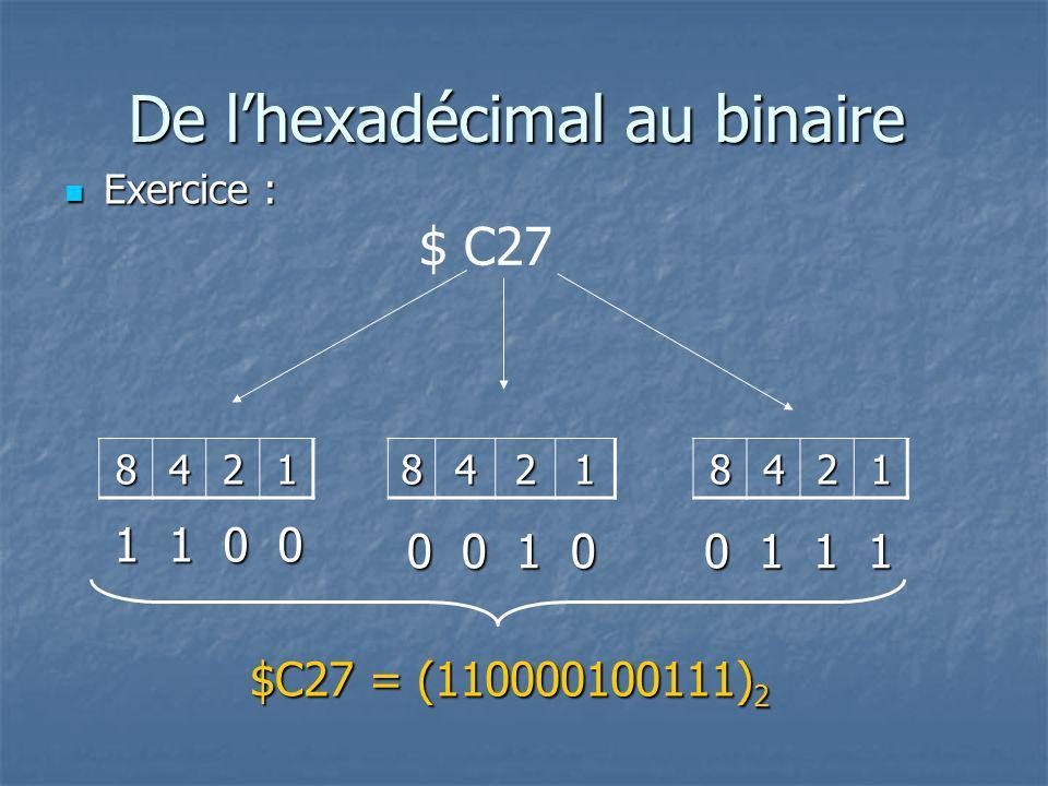 De l'hexadécimal au binaire