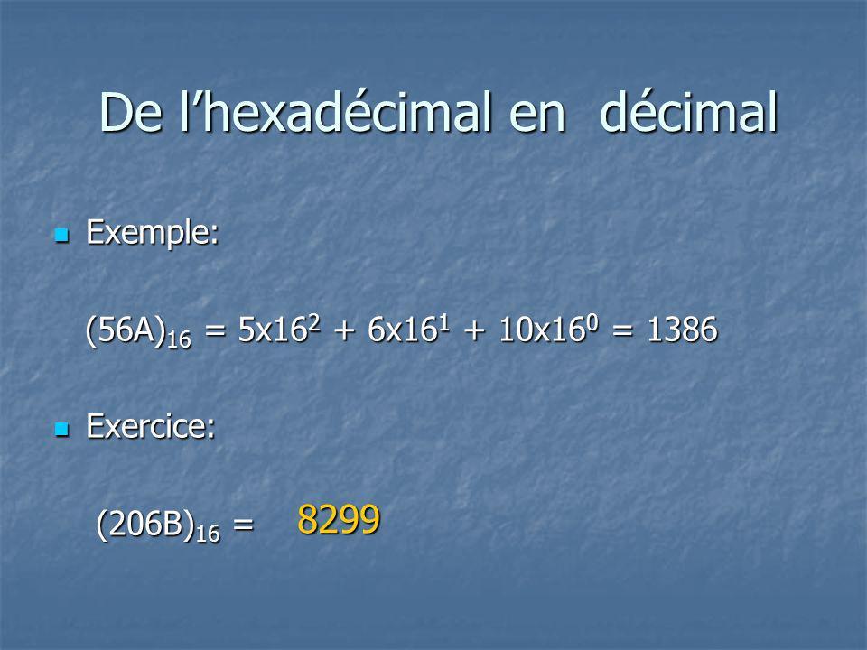 De l'hexadécimal en décimal