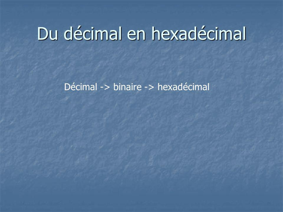 Du décimal en hexadécimal