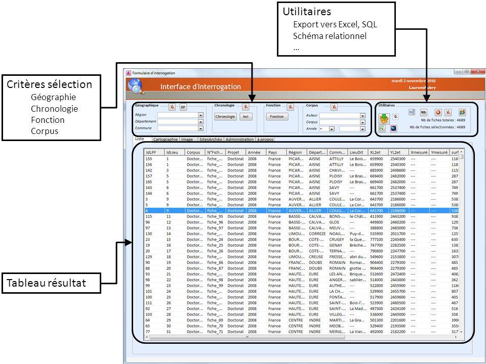 Utilitaires Critères sélection Tableau résultat Export vers Excel, SQL