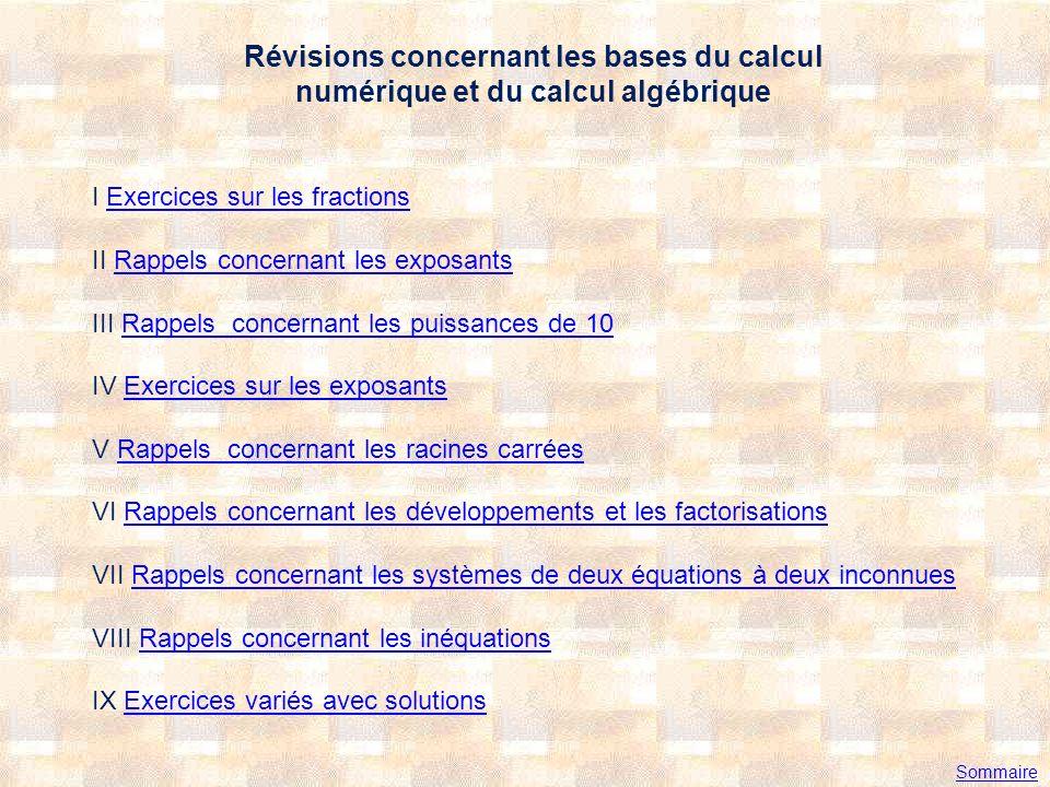 Révisions concernant les bases du calcul numérique et du calcul algébrique