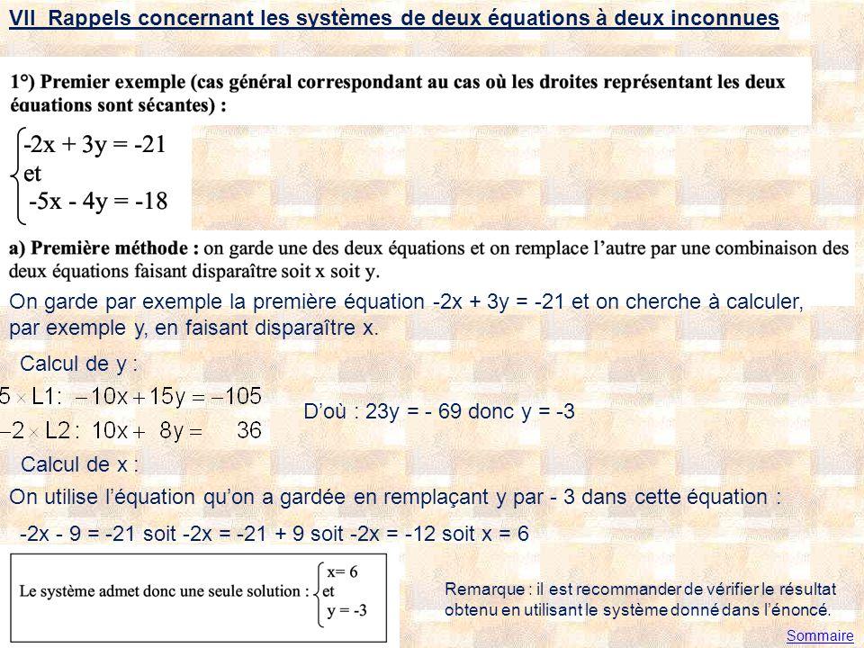 VII Rappels concernant les systèmes de deux équations à deux inconnues