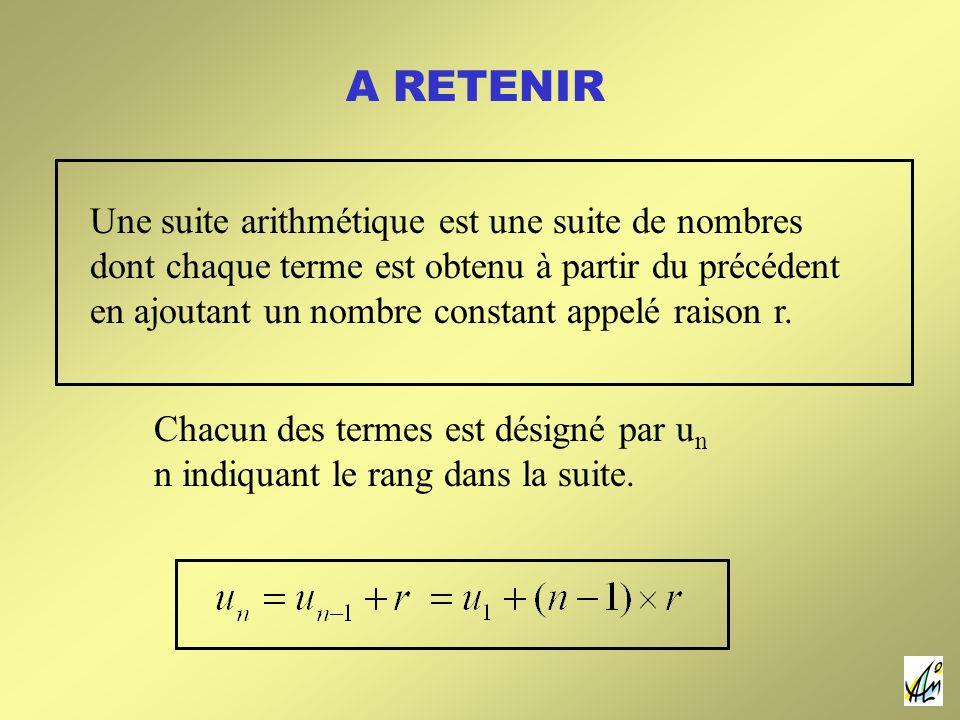 A RETENIR Une suite arithmétique est une suite de nombres