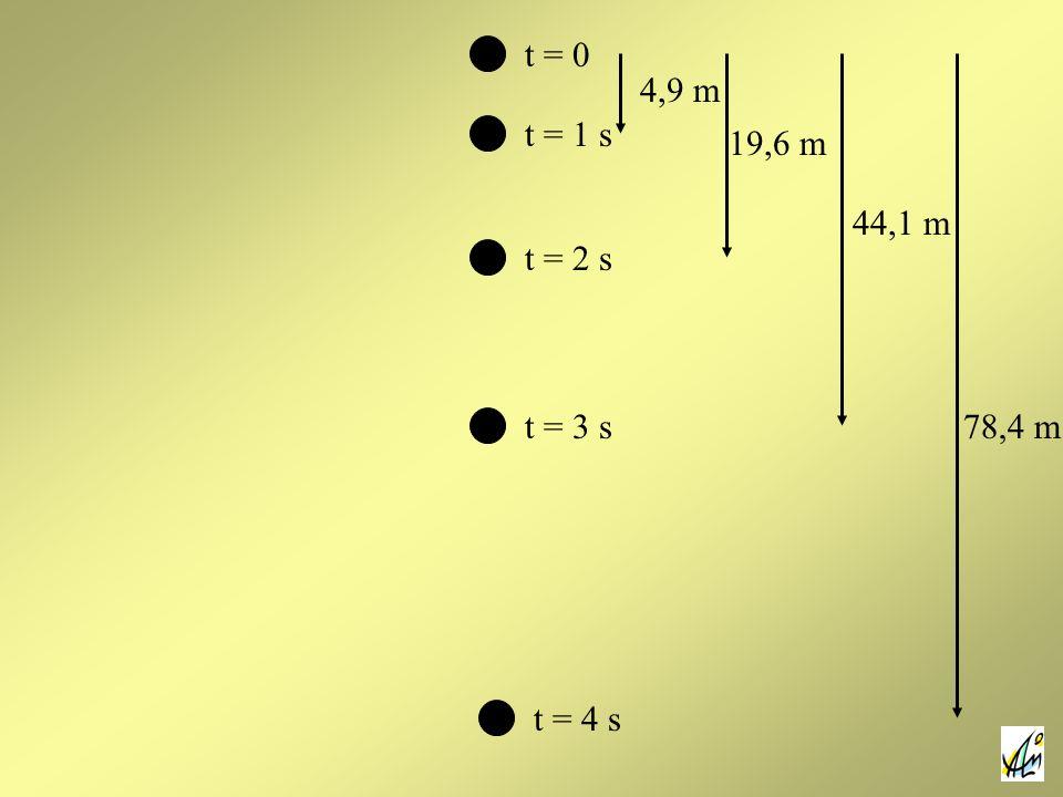 t = 0 4,9 m t = 1 s 19,6 m 44,1 m t = 2 s t = 3 s 78,4 m t = 4 s