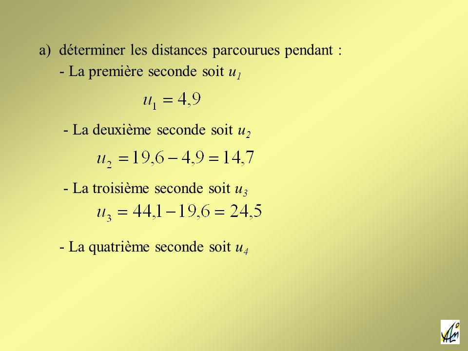 a) déterminer les distances parcourues pendant :