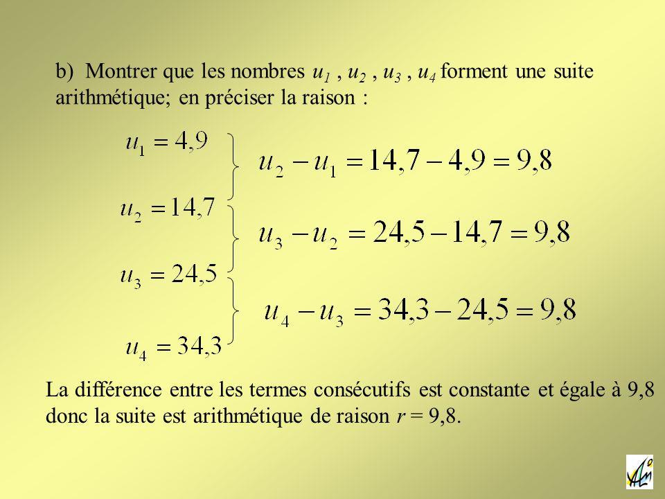 b) Montrer que les nombres u1 , u2 , u3 , u4 forment une suite