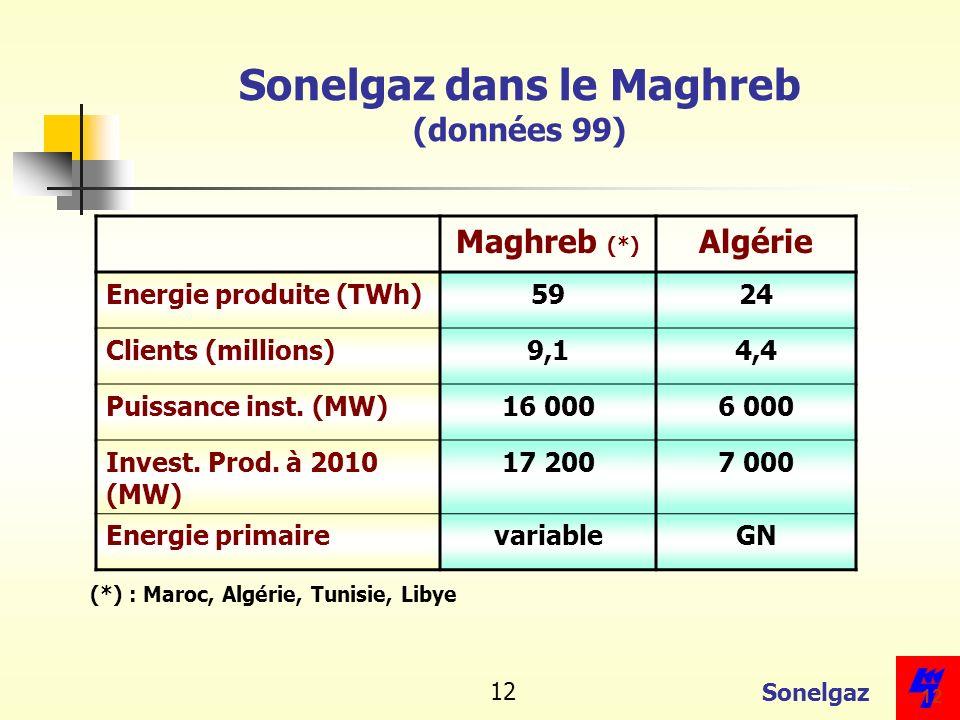 Sonelgaz dans le Maghreb (données 99)