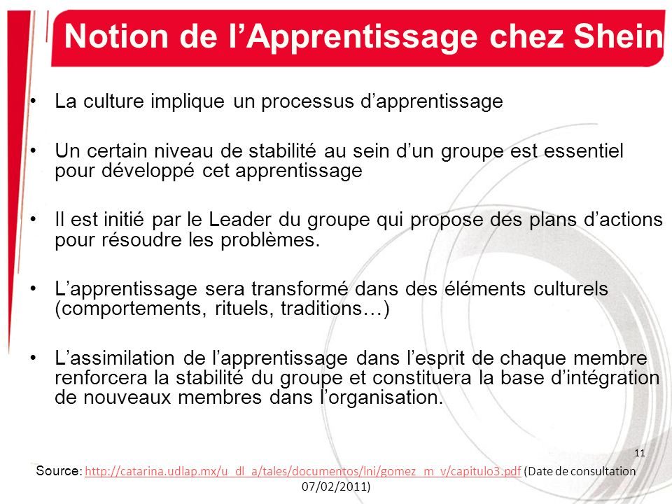 Notion de l'Apprentissage chez Shein