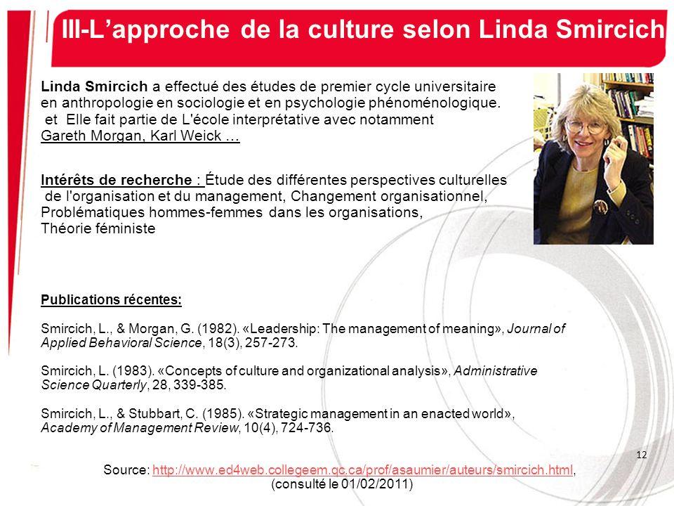 III-L'approche de la culture selon Linda Smircich