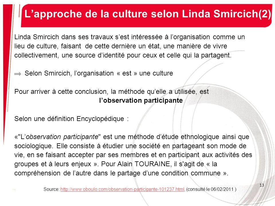 L'approche de la culture selon Linda Smircich(2)