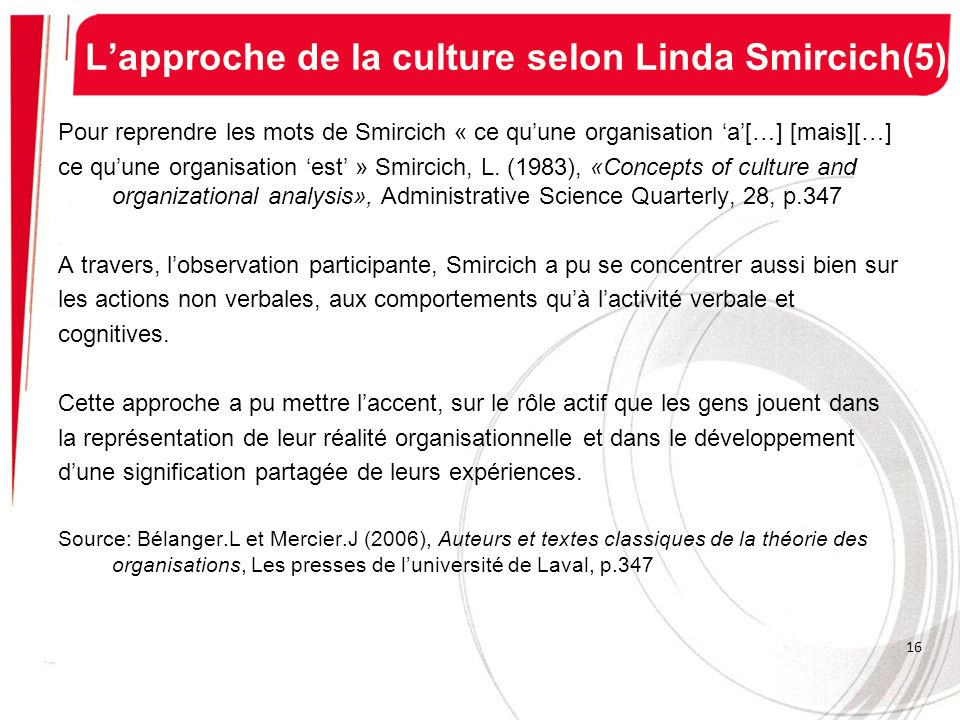 L'approche de la culture selon Linda Smircich(5)