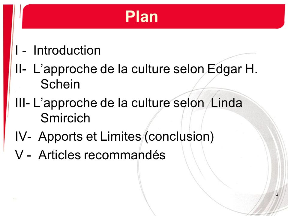 Plan I - Introduction II- L'approche de la culture selon Edgar H. Schein. III- L'approche de la culture selon Linda Smircich.