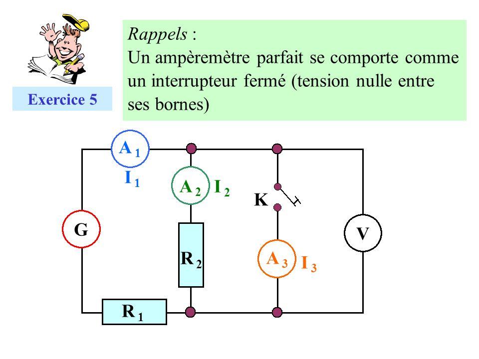 Rappels : Un ampèremètre parfait se comporte comme un interrupteur fermé (tension nulle entre ses bornes)