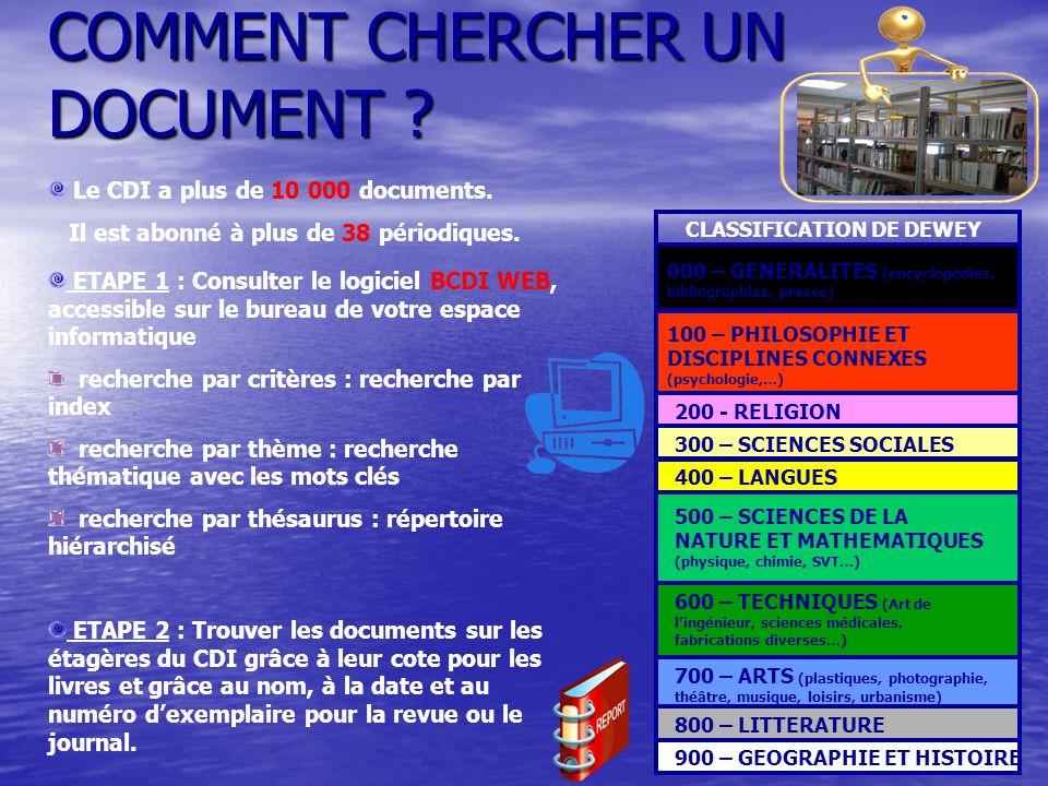 COMMENT CHERCHER UN DOCUMENT