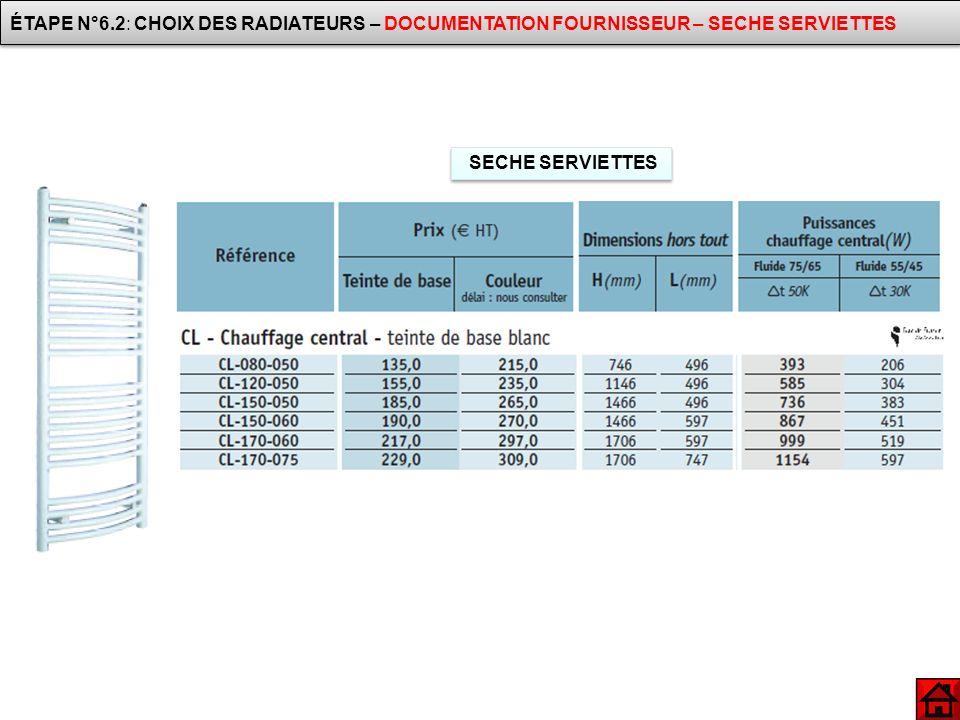 ÉTAPE N°6.2: CHOIX DES RADIATEURS – DOCUMENTATION FOURNISSEUR – SECHE SERVIETTES
