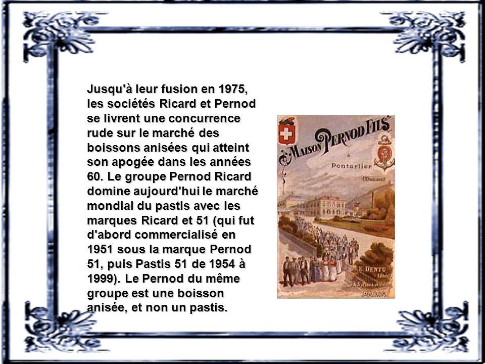 Jusqu à leur fusion en 1975, les sociétés Ricard et Pernod se livrent une concurrence rude sur le marché des boissons anisées qui atteint son apogée dans les années 60.