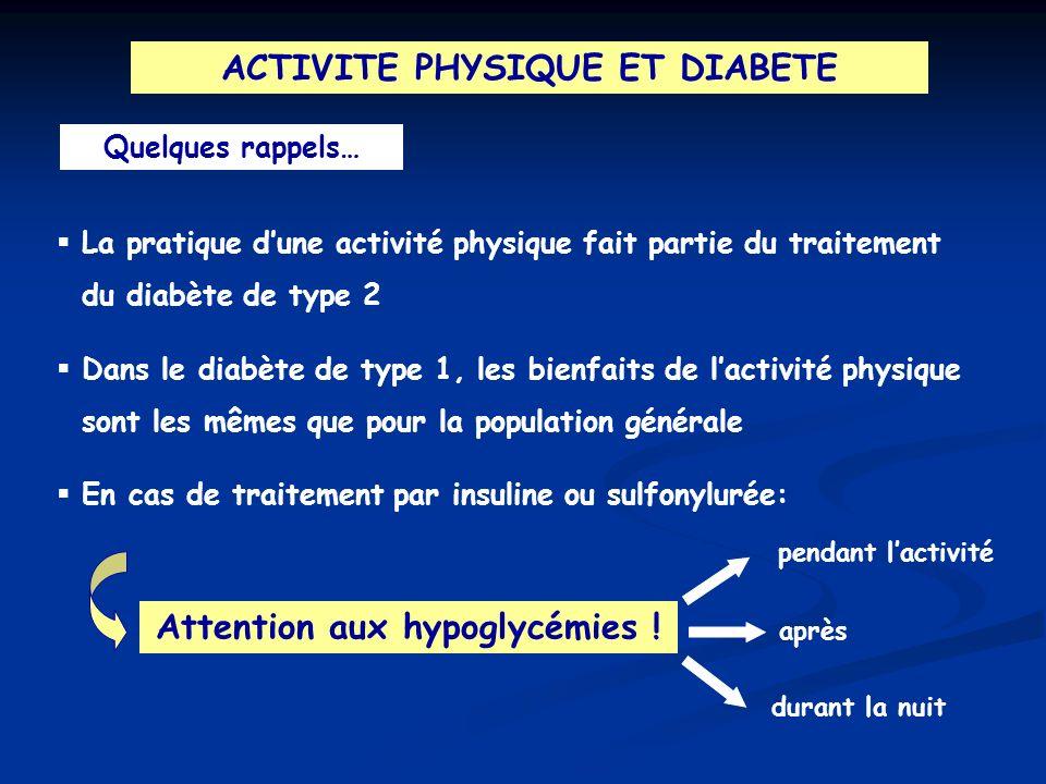 ACTIVITE PHYSIQUE ET DIABETE Attention aux hypoglycémies !